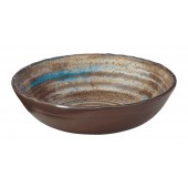 "Merritt International Melamine Glazed Brown Swirl 8"" Round Bowl"