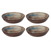 "Merritt Melamine Glazed Brown Swirl 8"" Round Bowl 4 Pack"